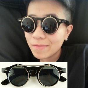 Retro Double Flip Up Sunglasses Black Or Leopard